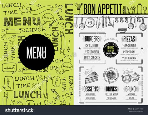 Placemat Menu Restaurant Food Brochure Cafe Stock Vector 522094171 Shutterstock Placemat Menu Templates