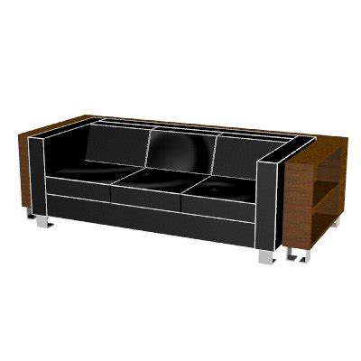 Rhino Leather Sofa Wrap Around Bookshelf