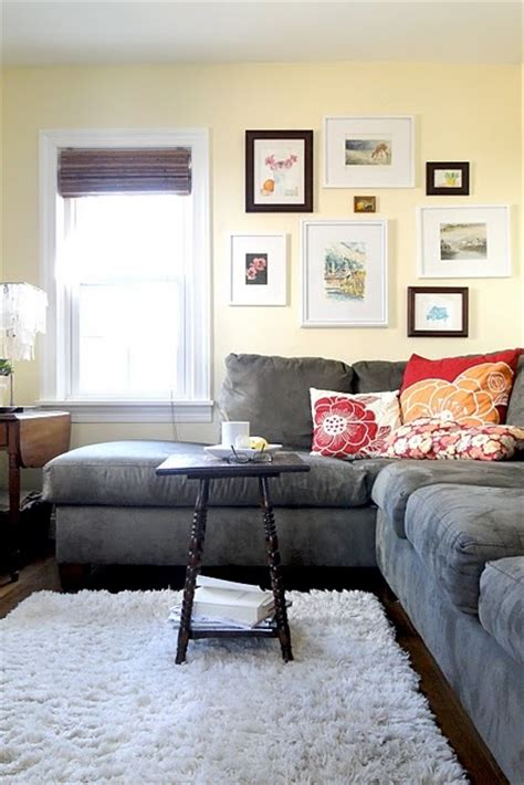 gray sofa yellow walls my is this exact color i think im diggin the