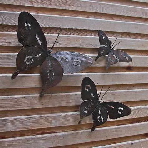 Metal Butterfly Garden Wall Art Set Of Three Garden Wall Garden Wall Sculptures