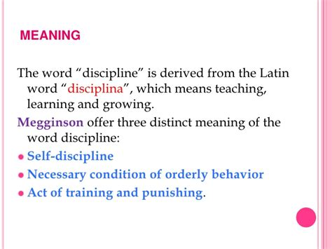 Meaning Of The Word Discipline