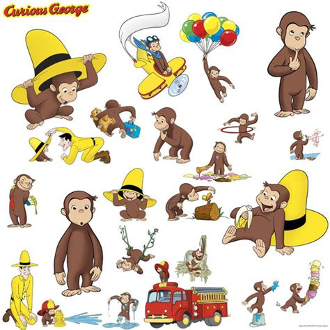 curious george wall stickers curious george bedroom decor wall decals at toystop