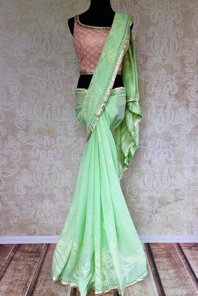 Blouse Na 452 buy mint green embroidered lucknowi georgette saree with blouse