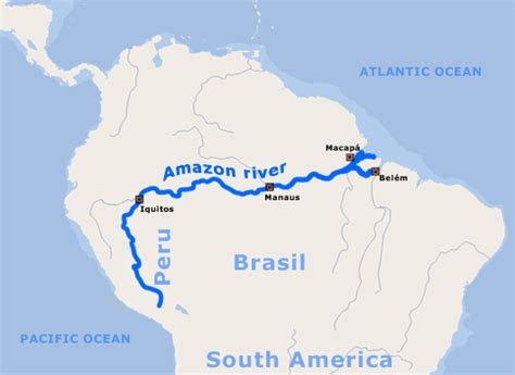 amazon river map the amazon river flowing water