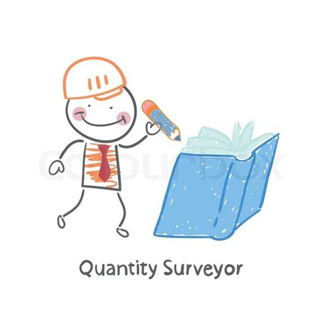 Quantity Surveyor wrote in pencil in a book   Stock Vector