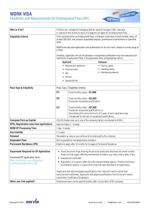 Work Permit After Mba In Singapore by Singapore Employment Pass Work Visa Fact Sheet