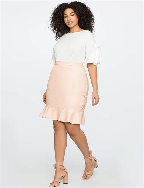 Faux Leather Ruffle Mini Skirt faux leather ruffle hem mini skirt eloquii