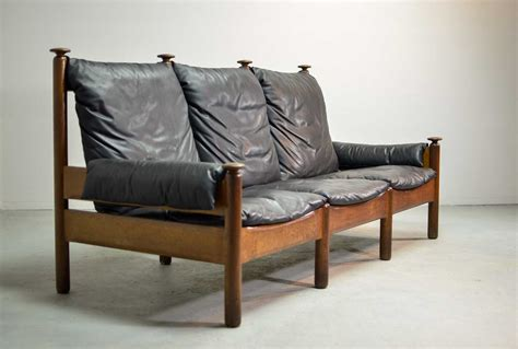 sturdy sofa sturdy mid century smooth black leather scandinavian 3