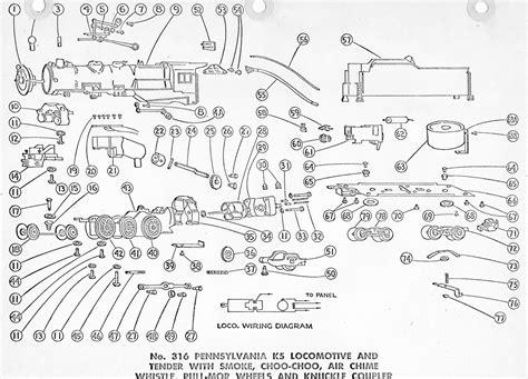 american flyer locomotive 316 parts list diagram traindr