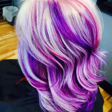 streaked hair color white and purple streaked hair color hair colors ideas