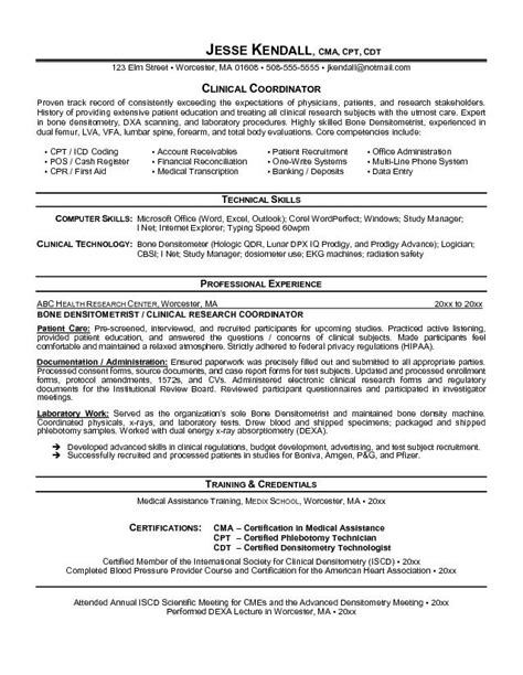 Clinic Resume Objective Exle Clinical Coordinator Resume Free Sle