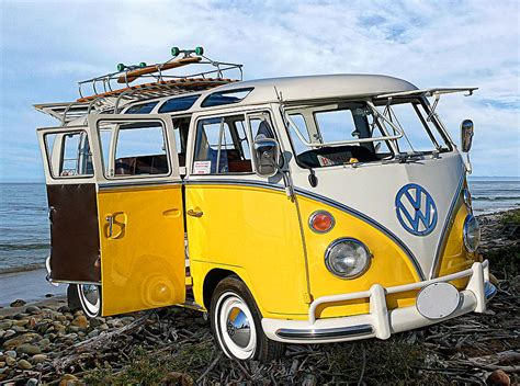 new volkswagen bus yellow yellow bus at the beach photograph by ron regalado