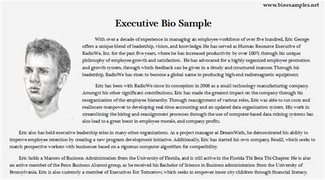 template of bio executive bio exles bio exles