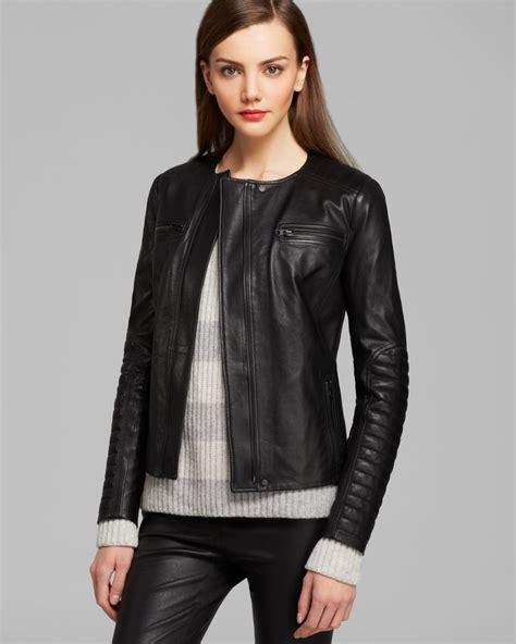black moto jacket lyst vince jacket quilted leather moto in black