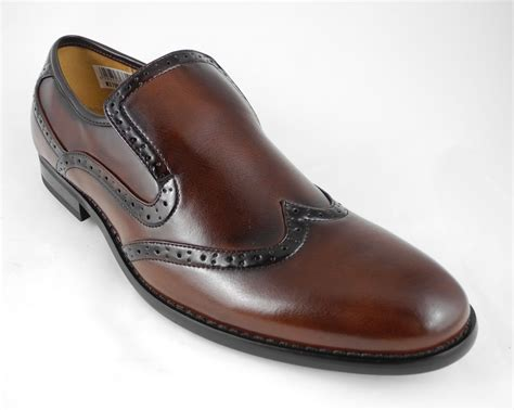 mens leather lined slip on brogues shoes brown size 6 7 8