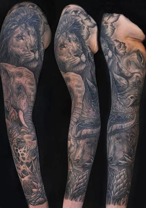 wild animal tattoo designs wildlife tattoos sleeve designs mike devries africas