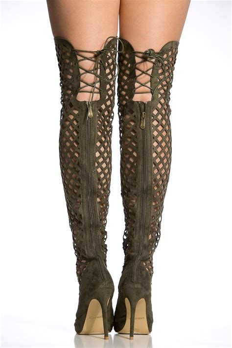 gladiator thigh high heels olive faux suede cut out thigh high gladiator heels