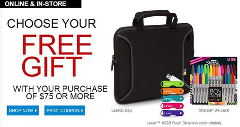 Office Depot Coupons Free Gifts Office Depot Free Gift With 75 Purchase