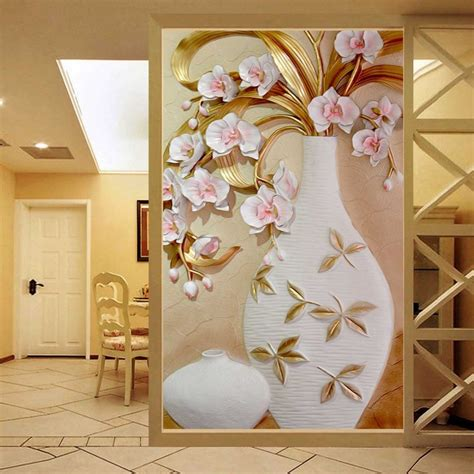 custom 3d mural wallpaper embossed flower vase