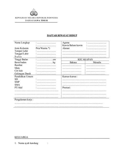 format daftar riwayat hidup anggota polri berkas persyaratan brigadir