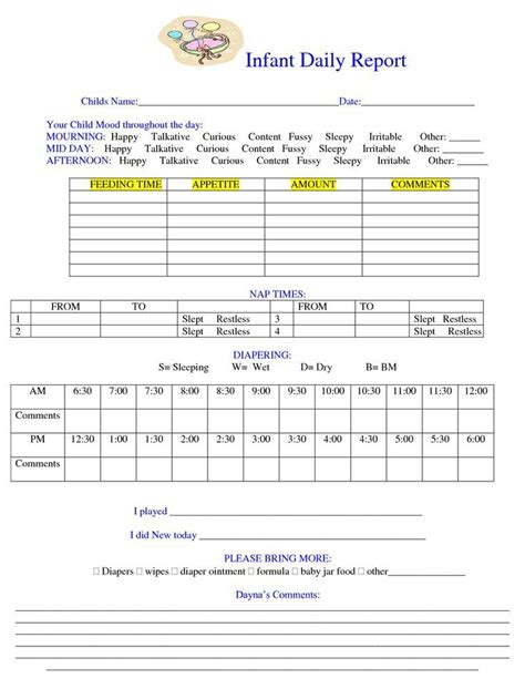 daycare daily report template 26 best images about daily notes on day care