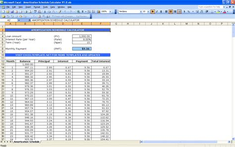 amortization schedule template amortization schedule calculator excel templates