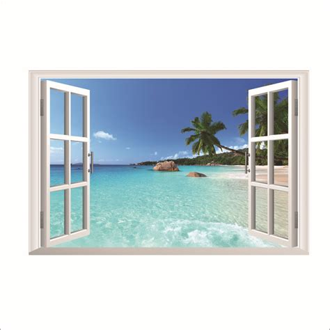 Country Wall Murals 2 piece lot 3d mural wall art stickers seascape fake