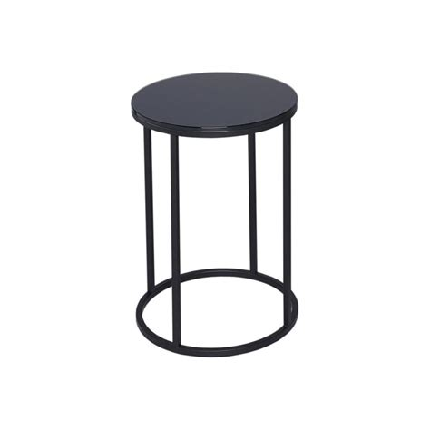 black glass side table buy black glass and black metal circular side table from