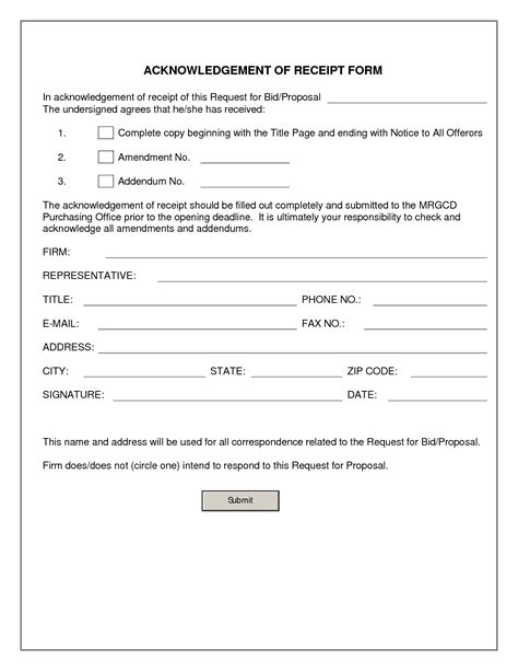 receipt form template word document exceptional acknowledgement of receipt document sle