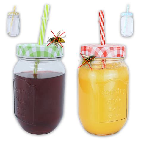 country style glassware insect defence glass with a straw lid country
