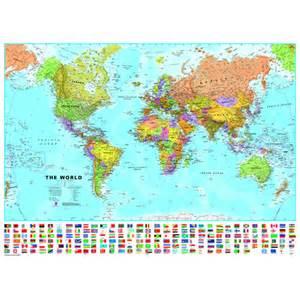 Laminated World Map laminated world map with flags