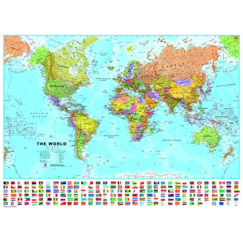 map world laminated laminated world map with flags