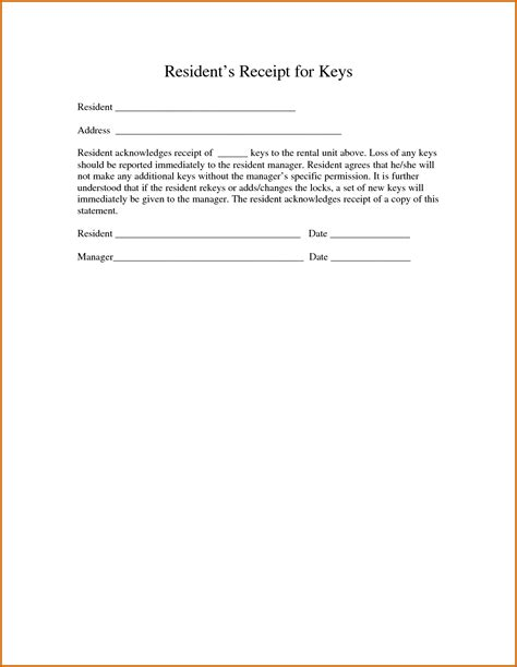 template of receipt 8 acknowledgement of receipt form template lease template