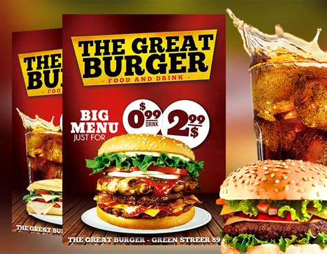 free burger coupon card template psd fast food restaurant flyer template psd