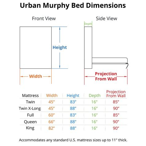 bed size dimensions urban murphy bed
