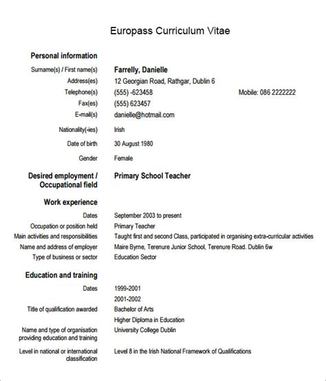sle europass curriculum vitae 6 documents in pdf word