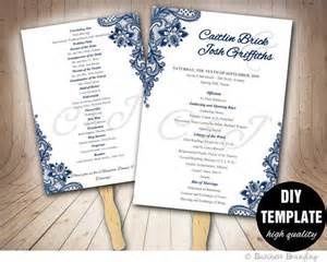 fan program template blue wedding programs fan template diy instant