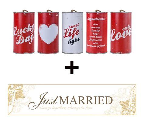 Dekomaterial F R Hochzeit by Brautauto Schild Quot Just Married Quot Mit Hochzeitsdosen Im Set