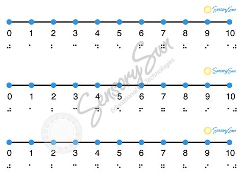 create your own printable number line tactile number lines with braille and print sensory sun