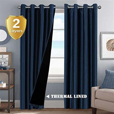 thermal curtain liner panels energy saving full blackout curtain 2 panels thermal