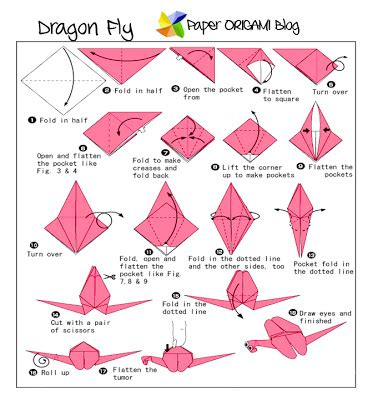 Origami Dragonfly Diagram - fly origami paper origami guide
