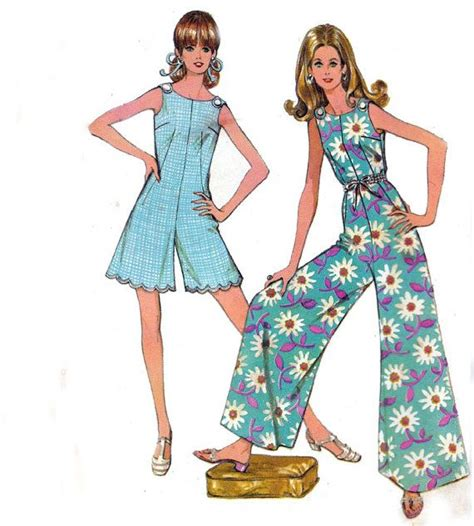 1960s womens jumpsuit and romper pattern simplicity 8146 palazzo pants jumpsuit pattern 1960s vintage pattern