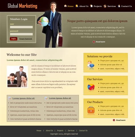 Global Marketing Web Template 6369 Business Website Templates Dreamtemplate Product Promotion Website Templates