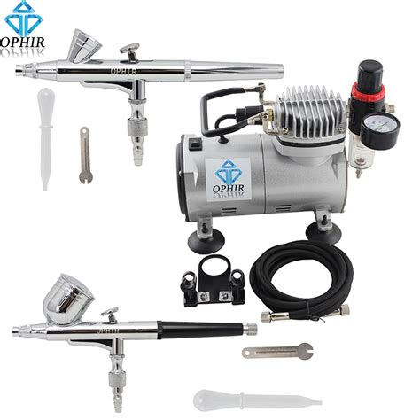 ophir airbrush nails machine 0 2mm 0 3mm 2 dual airbrush compressor kit for nail