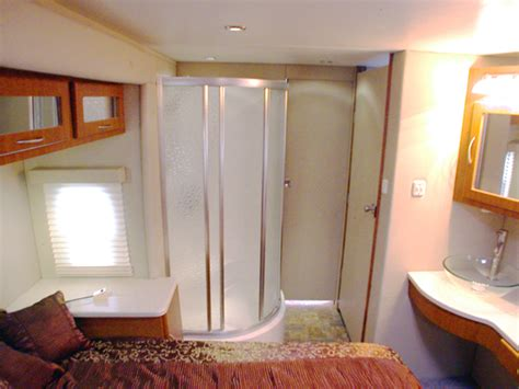 shower in bedroom americana rv new sequoyah custom fifth wheel bedroom and