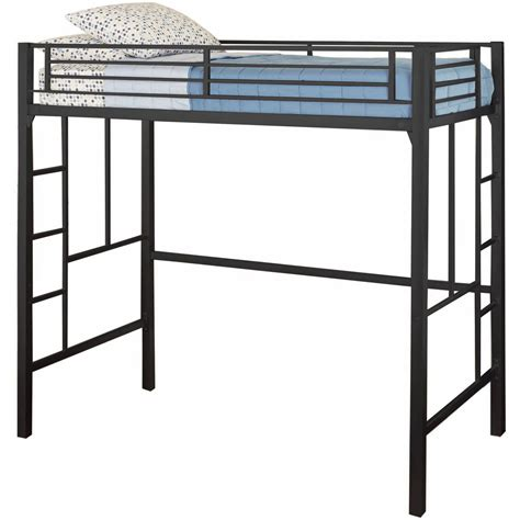 Metal Frame Loft Beds Loft Bed With Ladder Metal Frame Bunkbed Bedroom Black Ebay