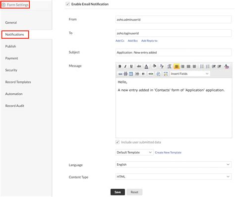 Send Mail From Verified Email Addressess Help Zoho Creator Zoho Creator Email Template
