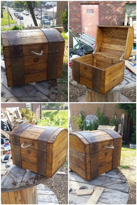 pallet woodworking diy wooden pallet storage box plans pallet wood projects