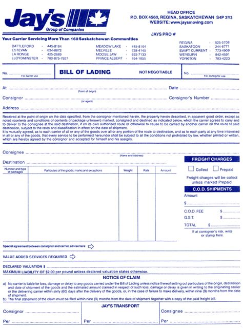 shipping bill of lading template bill of lading what s your paramount clause
