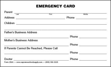 child emergency card template emergency information card 284a supreme school supply